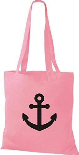 JUTA Borsa di stoffa per barca ancora SKIPPER CAPITANO - rosa, 38 cm x 42 cm