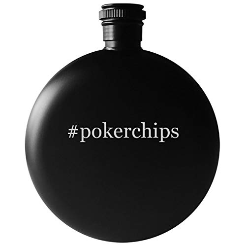 #pokerchips - 5oz Round Hashtag Drinking Alcohol Flask, Matte Black
