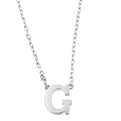 14k White Gold Tiny Initial Pendant Necklace, 16