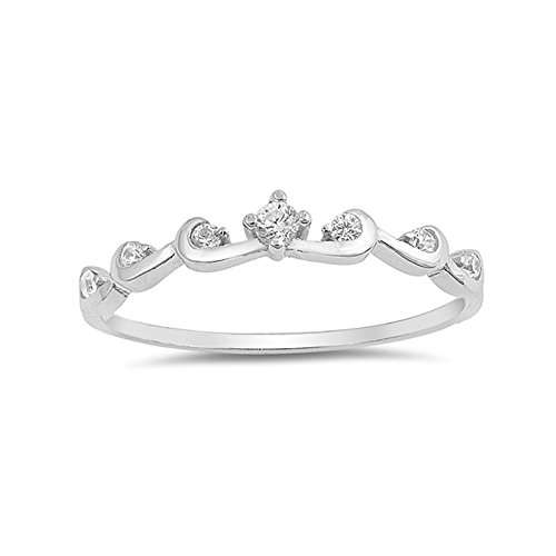 .925 Sterling Silver Cubic Zirconia Coiled Crown Stackable Ring ()
