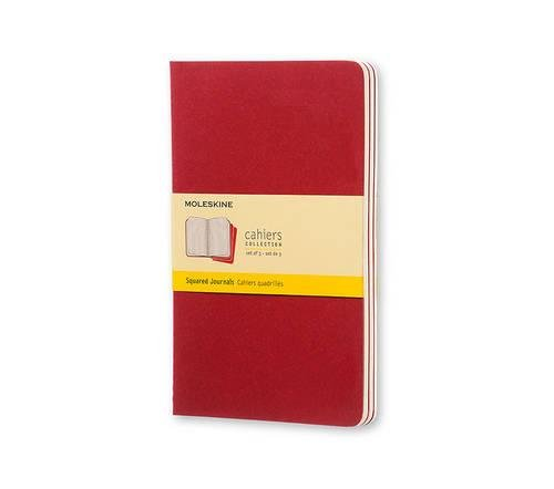 Moleskine Cahier Journal (Set of 3), Large, Squared, Cranberry Red, Soft Cover (5 x 8.25)