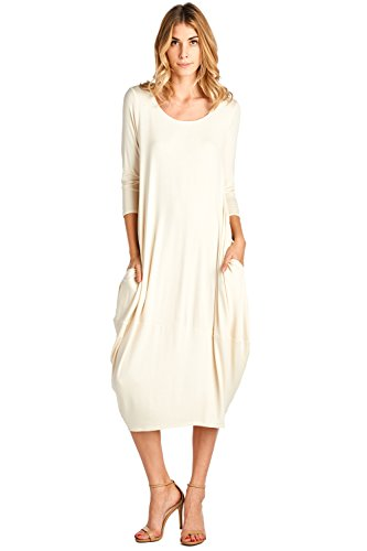 12 Ami Solid 3/4 Sleeve Bubble Hem Pocket Midi Dress Cream M