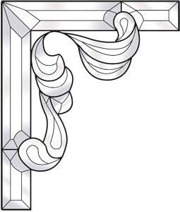 Left Side Stained Glass Supplies Ornate Corner Bevel Cluster Kit