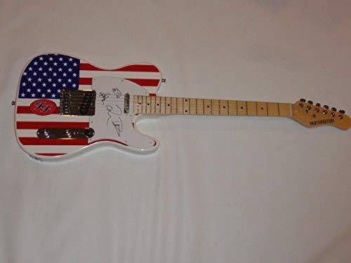The Foo Fighters Autographed Signed Usa Flag Guitar Dave Grohl Sketch Taylor Pat JSA Authentic