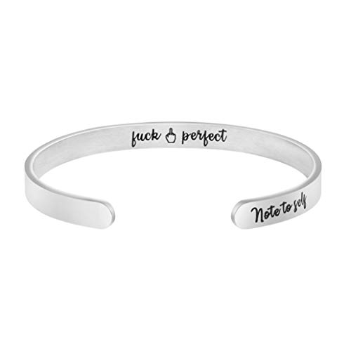 MEMGIFT Fuck Perfect Bracelet for Mom Her Sister Daughter Teen Girl Personalized Inspirational Quote Engraved Cuff Bangle Self Love ()