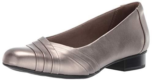 Grey Heels Shoe - CLARKS Women's Juliet Petra Pump, Pewter Leather, 8 M US