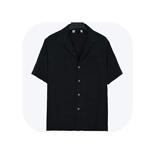 Shirts Silk Short Sleeve Casual Fit 70-130kg Button Single Pocket Gray Black Blue Green,Black,XL]()