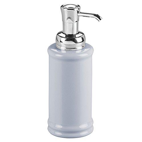 (InterDesign Hamilton Glass Soap & Lotion Dispenser Pump for Kitchen or Bathroom Countertops, Slate Blue/Chrome)