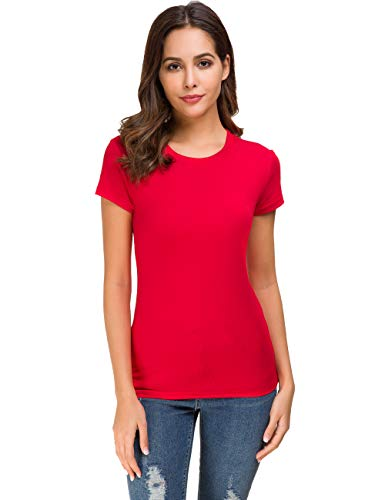 Acacia Flowers Women's Cotton Short Sleeved Round Neck Tight Stretchy Tea Sport Tee Work-Out Tops Dry-Fit Running Spring T-Shirt Red