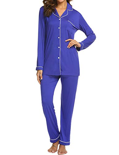Ekouaer Women's Long Sleeve Sleep Shirts Jersey Pajamas Two Piece Sleepwear Set (Blue Purple,M)]()