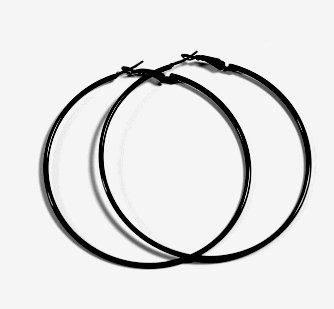 BLACK Hoop Earrings 50mm Circle Size