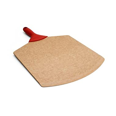 Epicurean 18 by 12-Inch Pizza Peel and Silicone Grip Handle, Natural with Red