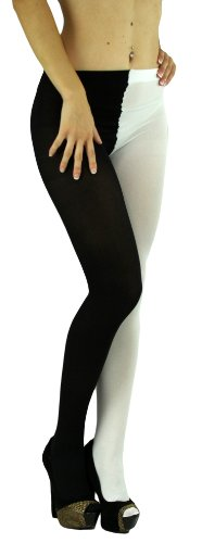 ToBeInStyle Women's Two Toned Jester Tights W/Reinforced Toe - One Size: Plus/Queen - -