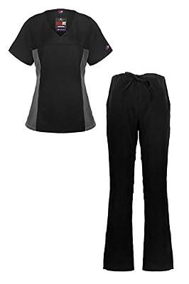 MediFit Women's Mock Wrap Medical Top & Pants Scrub Set