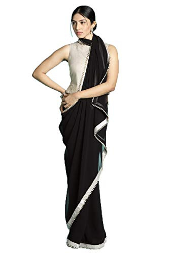 Black And Gold Border (Shonaya Women's Party Wear Printed Latest Saree with Unstitched Blouse Piece)