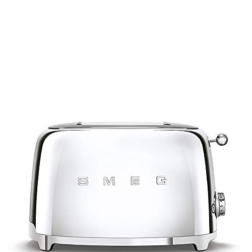 Smeg TSF01SSUK, 50's Retro Style 2 Slice Toaster,6 Browning Levels,2 Extra Wide Bread Slots, Defrost and Reheat Functions, Removable Crumb Tray, Chrome, 1 Year Warranty