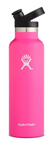 Hydro Flask 21 oz Water Bottle - Stainless Steel & Vacuum Insulated - Standard Mouth with Sport Cap - Flamingo (Best Horseback Riding In San Diego)