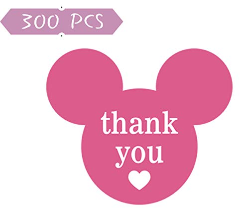 2.25'' x 2'' Mickey Mouse Stickers, Mickey/Minnie Thank You Stickers, Mickey Mouse Ear Vinyl Labels Thank You Labels with Heart for Decorations, Envelope Seals, Gift Tags, 300 Labels/Pack]()