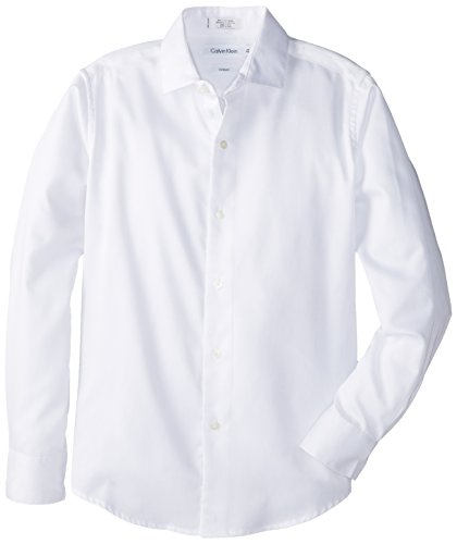 Calvin Klein Big Boys' Long Sleeve Sateen Dress Shirt, White, 16 -
