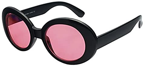 SunglassUP - Retro Bold Arms Color Tinted Oval Lens Novelty Sunglasses 50mm (Black   Hot Pink)