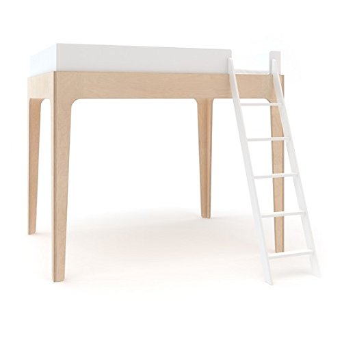- Oeuf Perch Twin Loft Bed in White and Birch