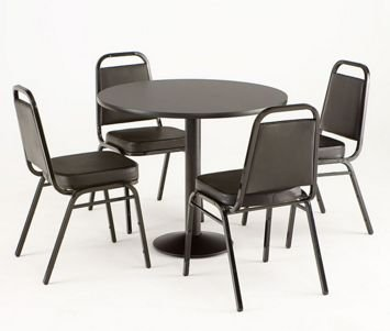 Practical Black Dining Table with Four Chairs