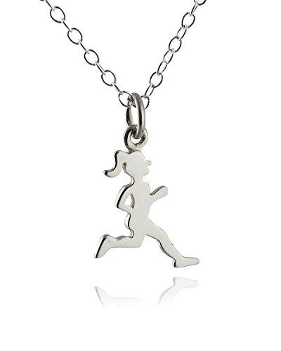 (FashionJunkie4Life Sterling Silver Running Girl Silhouette Charm Pendant Necklace, 18 Inch, Marathon Runner)