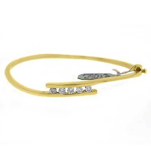 14k Yellow Gold .58 Carat Round Channel Set Diamond Bangle ()