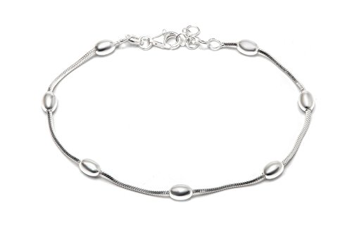 Pori Jewelers Sterling Silver Diamond-Cut Snake Chain with Station Oval Bead Bracelet - 7.5 - Italy