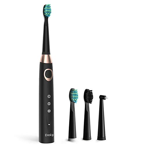 Sonic Rechargeable Electric Toothbrush for Adults, 3 Modes with 2 Min Build in Timer, Dentists recommend, Waterproof, USB Fast Charging, Black