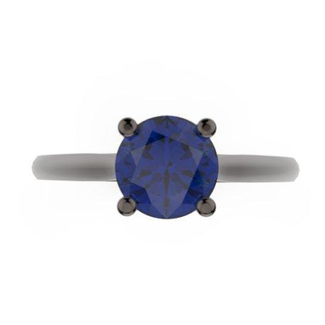 AVANI Bagues Or Noir 18 carats Saphir Bleu 0,6 Rond
