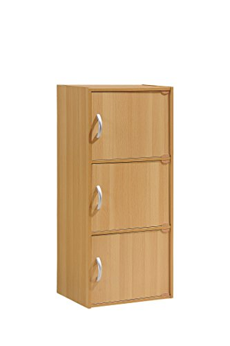 Hodedah 3 Door, Three Shleves, Enclosed Storage Cabinet, Beech by HODEDAH IMPORT (Image #1)
