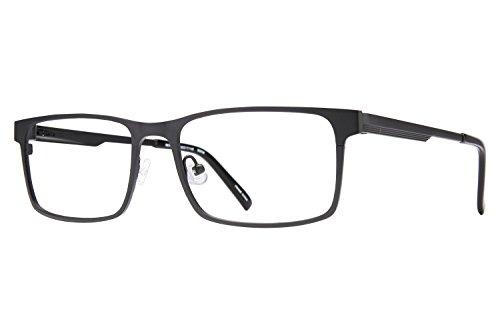Revolution Mens Eyeglasses - Revolution T102 Men's Eyeglass Frames - Brushed Black Metal/Grey Clip-On