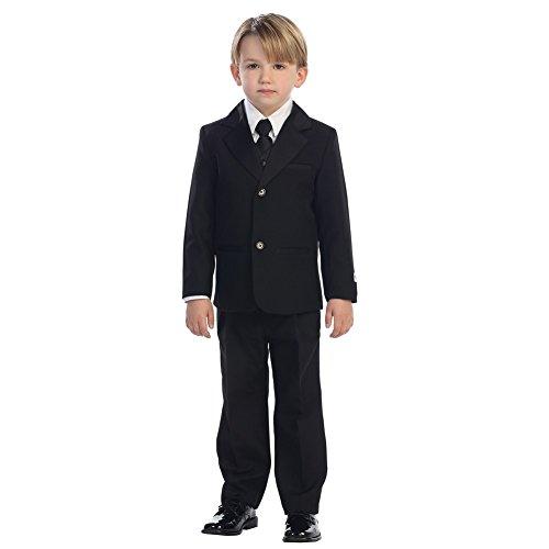 Tip Top Kids Little Boys Black Satin Label Single Breasted Elegant 5 Pc Tuxedo Suit 5 -