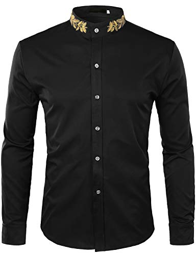 ZEROYAA Mens Hipster Gold Embroidery Mandarin Collar Slim Fit Long Sleeve Casual Dress Shirts Z52 Black Small