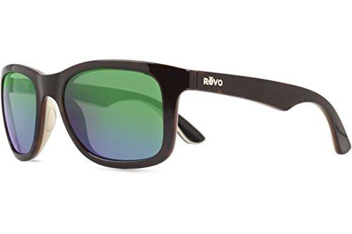 Revo Huddie RE 1000 02 GN Polarized Wayfarer Sunglasses, Tortoise/Ivory/Black, Green Water, 54 (Green Tortoise Sunglasses)