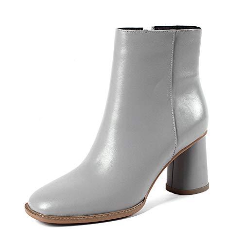 Hoesczs Zapatos Primera Botas De Botines Alto Gray Tacón Negras Marca Diseño Cuero Calidad Mujer Con Genuino pwPrpfqX