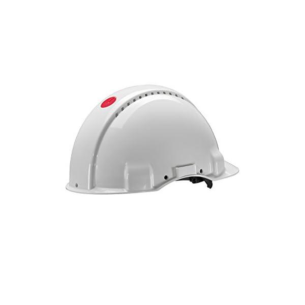 3M G3000 Casco de seguridad blanco con ventilación, arnés de ruleta y banda sudor de plástico (1 casco/caja) 4