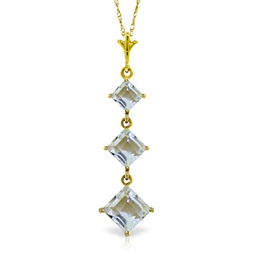 ALARRI 2.4 CTW 14K Solid Gold Love Lock Aquamarine Necklace with 18 Inch Chain Length by ALARRI