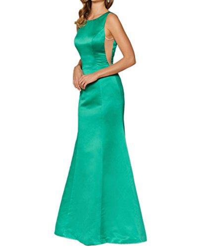 Abendkleider Lang Festlichkleider Damen Etuikleider Grün Brautjungfernkleider Charmant Gruen Satin Promkleider IwHaABqn8