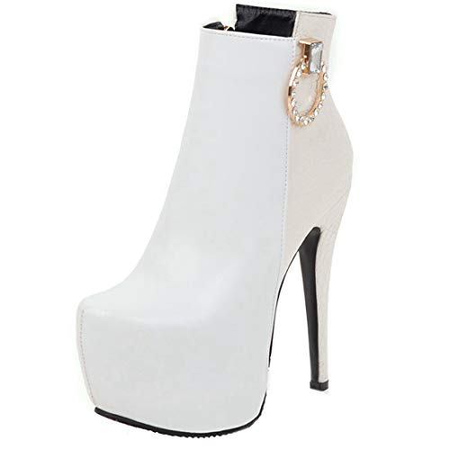 Vitalo Womens High Ankle Heel Stiletto Ankle High Platform Boots Zip Up Party Prom Booties B07J6GRM3K Shoes 7e7dc8