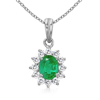 Angara Oval Natural Sapphire and Diamond Floral Halo Pendant JDkX4E