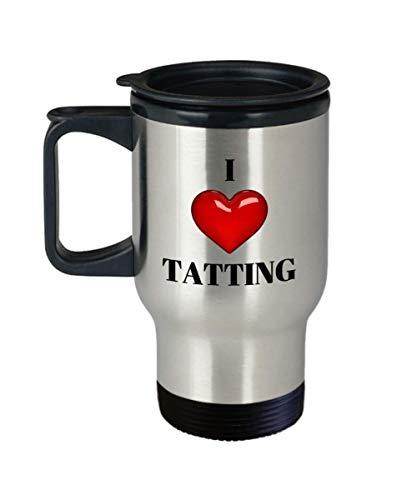 I Love (Heart) Tatting - Travel Coffee Mug