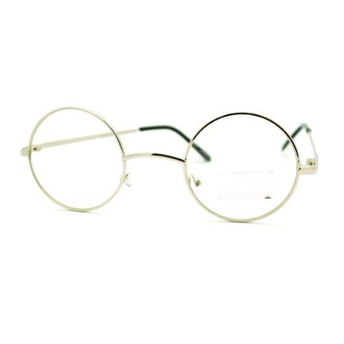 Silver Round Circle Clear Lens Eyeglasses Small Size Thin Frame Unisex Glasses -