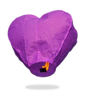 Eco Purple Heart Sky Lanterns - Paper Lanterns Rice Eyelet