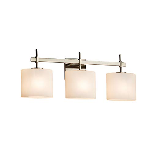 Justice Design Group Lighting FSN-8413-30-OPAL-NCKL Justice Design Group - Fusion - Union 3-Light Bath bar - Oval - Brushed Nickel Finish with Opal Shade, ()