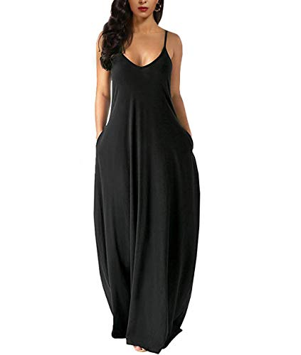 Zabrina Stores Womens Casual Sleeveless Plus Size Loose Plain Long Maxi Dress with Pocket Thin Black 3X