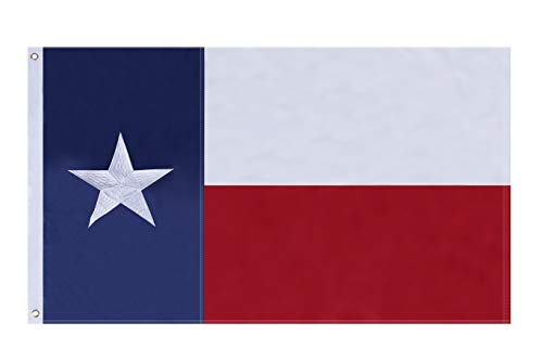 (NuLink Texas State Flag 4x6 Ft Embroidered Stars Sewn Stripes Brass Grommets Flag 210D Oxford Nylon for Indoor Outdoor)