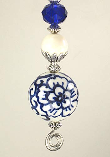 White Nickel Porcelain - Delft-look China White & Blue Porcelain Spanish Style Pattern Glass Ceiling Fan Pull Chain