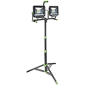 PowerSmith PWL21100TS Two-Head 10000 Lumen LED Work Light with Detachable Metal Lamp Housing, Metal Telescoping Tripod and 9 Ft Power Cord